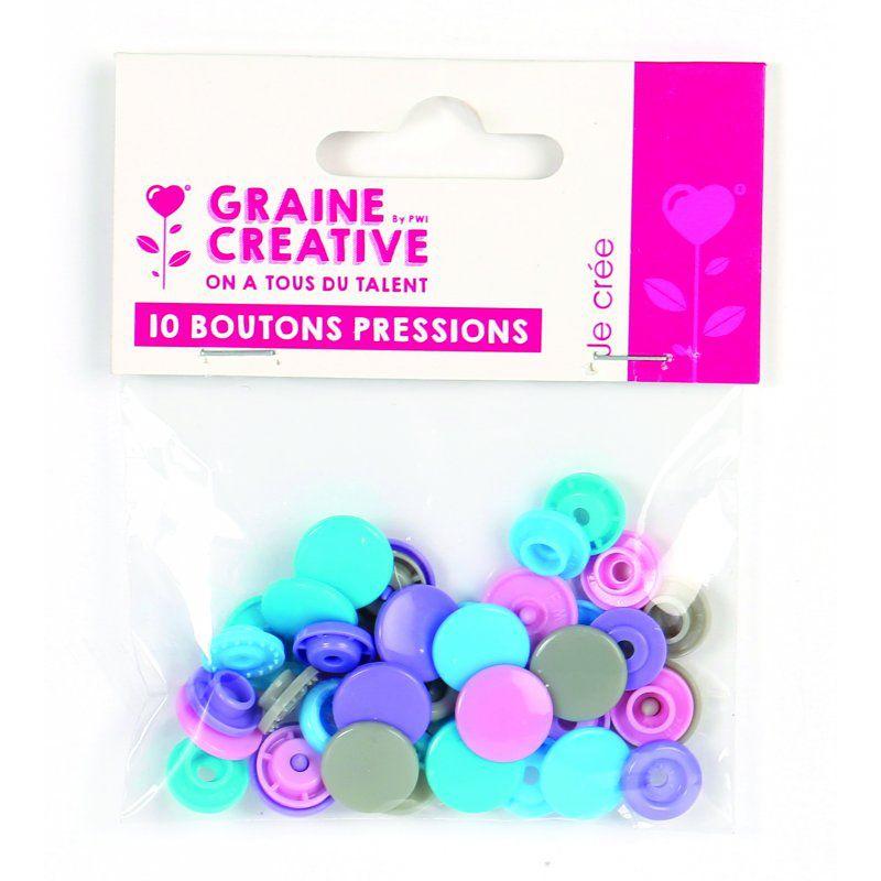 10 boutons pression résine couleur pastel Ø 12 mm