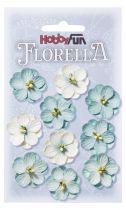 10 Fleurs en papier murier bleu anthique/blanc scapbooking Florella