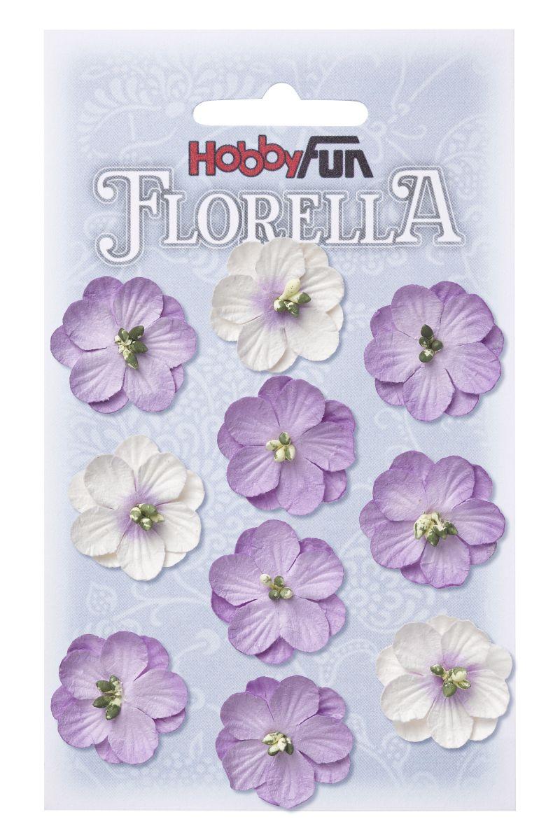 10 Fleurs en papier murier lavande/violet/blanc scapbooking