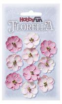 10 Fleurs en papier murier rose/blanc scapbooking Florella