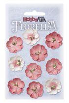 10 Fleurs en papier murier rose/fuchsia scapbooking Florella