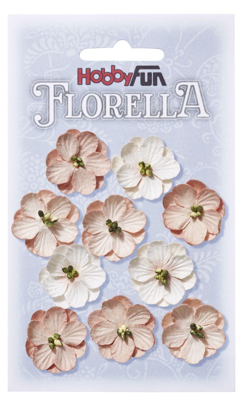 10 Fleurs en papier murier rose tendre n°2 scapbooking