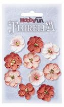 10 Fleurs en papier murier rouge/pêche scapbooking Florella