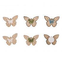 12 Fleurs papillons en bois vert, blanc et bleu avec paillettes 2cm