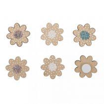 12 Fleurs paquerettes en bois rose, blanc et bleu avec paillettes environ 2 cm rayher