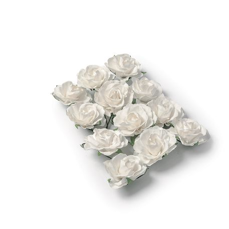12 roses Blanches  - 3,5cm
