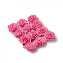 12 roses fuchsia sur tige - 3,5cm