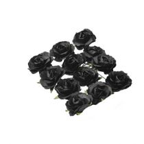 12 roses Noires sur tige - 3,5cm