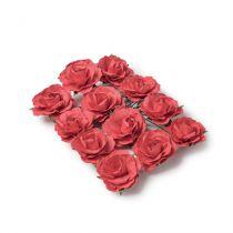12 roses Rouges sur tige - 3,5cm