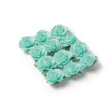12 roses vert clair sur tige - 3,5cm