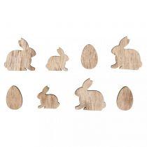 16 Lapins et Oeufs de Pâques miniatures en bois - 2 et 3cm