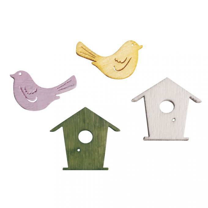 24 Oiseaux et nichoirs en bois environ 2 cm rayher