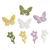 24 Papillons et fleurs bois environ 2 cm rayher