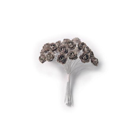 24 petites roses anthracite sur tige - 2.1cm