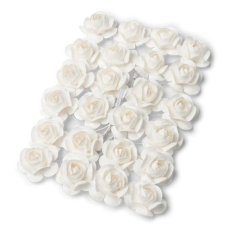 24 petites roses Blanches  sur tige - 2.1cm
