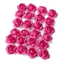 24 petites roses fuchsia  sur tige - 2.1cm