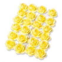 24 petites roses Jaune  sur tige - 2.1cm