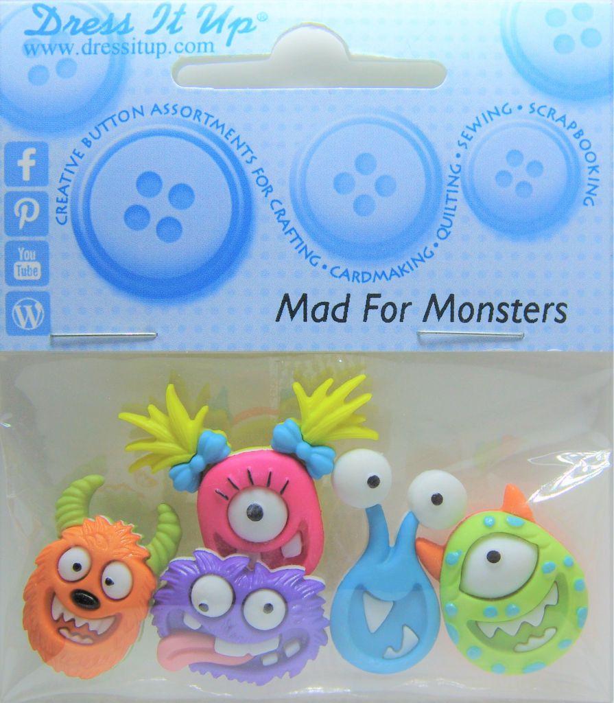 """5 Boutons décoratifs \"""" Monstres fous \"""""""