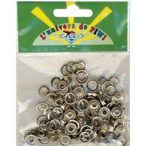 50 boutons pressions métal argenté Ø 10 mm