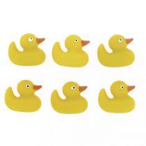 """6 Boutons décoratifs \"""" canards jaunes \"""" caoutchouc"""