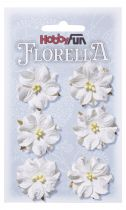 6 Fleurs en papier murier blanc scapbooking Florella