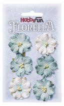 6 Fleurs en papier murier bleu anthique scapbooking Florella