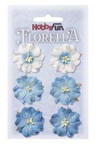 6 Fleurs en papier murier bleu/blanc scapbooking Florella
