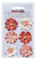 6 fleurs en papier murier décoration scapbooking Florella
