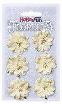 6 Fleurs en papier murier ivoire scapbooking Florella