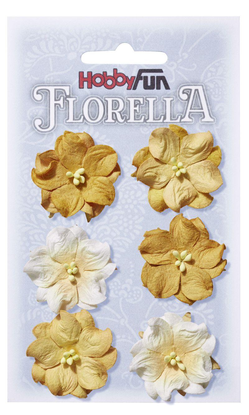 6 Fleurs en papier murier jaune/blanc scapbooking Florella