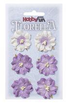 6 Fleurs en papier murier lavande/blanc scapbooking Florella