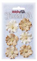 6 Fleurs en papier murier marron/beige scapbooking Florella
