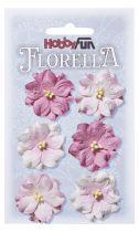 6 Fleurs en papier murier rose/blanc scapbooking Florella