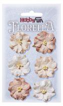 6 Fleurs en papier murier rose pastel scapbooking Florella