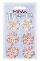 6 Fleurs en papier murier rose tendre scapbooking Florella