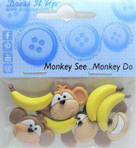 """8 Boutons décoratifs \"""" Singes Bananes \"""""""