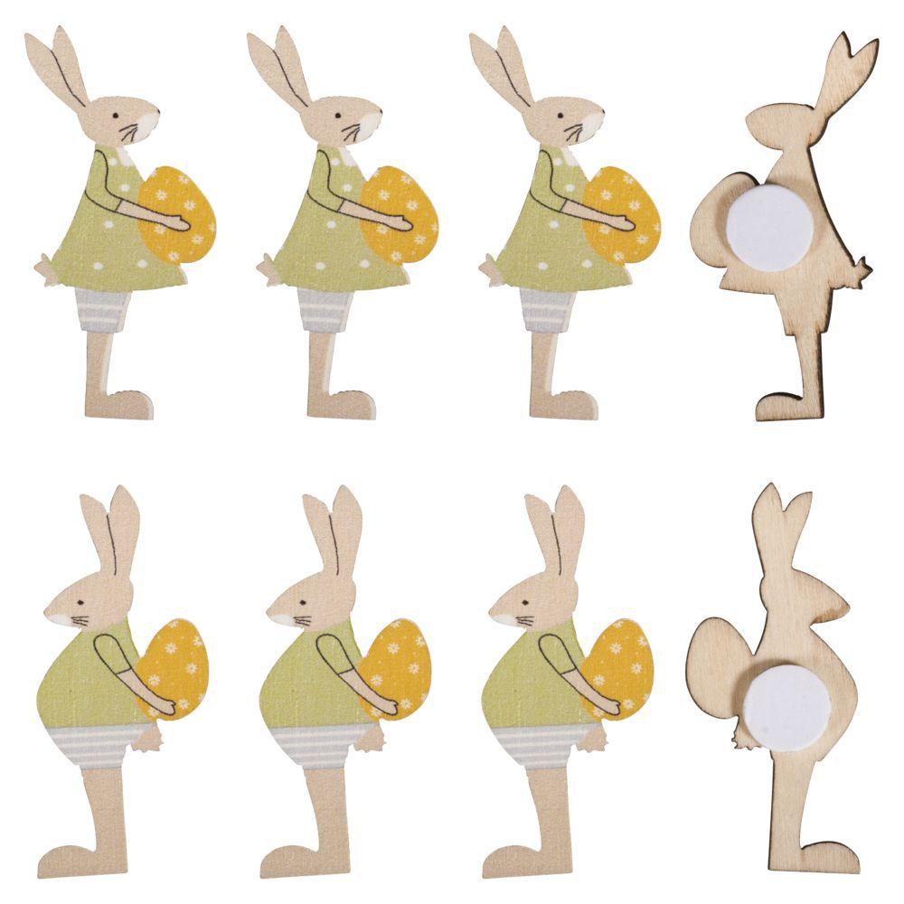 8 Lapins de Pâques miniatures en bois - 4,5cm