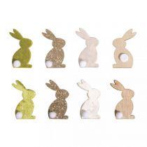 8 Lapins de Pâques miniatures en bois - 4cm x2,5cm