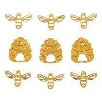 9 abeilles et ruches miniatures en bois jaune pailletées 3cm