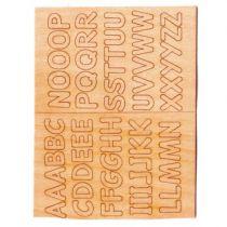 Alphabet en bois autocollant prédécoupé CM