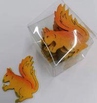 boite de 12 silhouettes petits écureuils formes en bois
