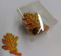boite de 12 silhouettes petits feuilles formes en bois