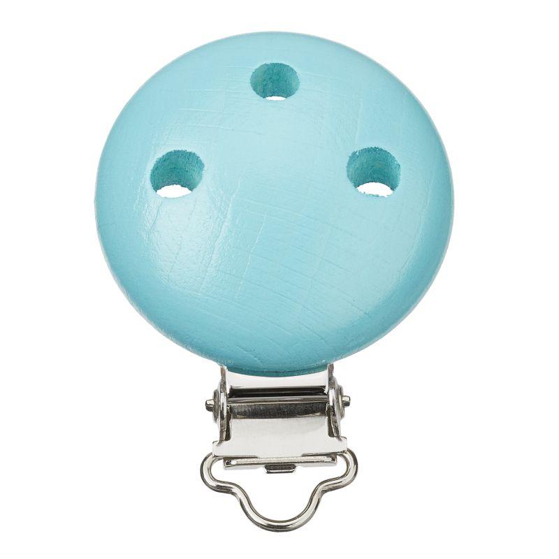 Clip attache tétine bleu turquoise en bois  Ø 37mm