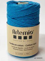 Corde en coton Bleu cyan diam: 2,2mm Artémio