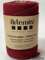 Corde en coton Bordeaux diam: 2,2mm Artémio