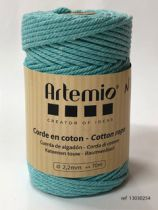 Corde en coton macramé Bleu clair diam: 2,2mm Artémio