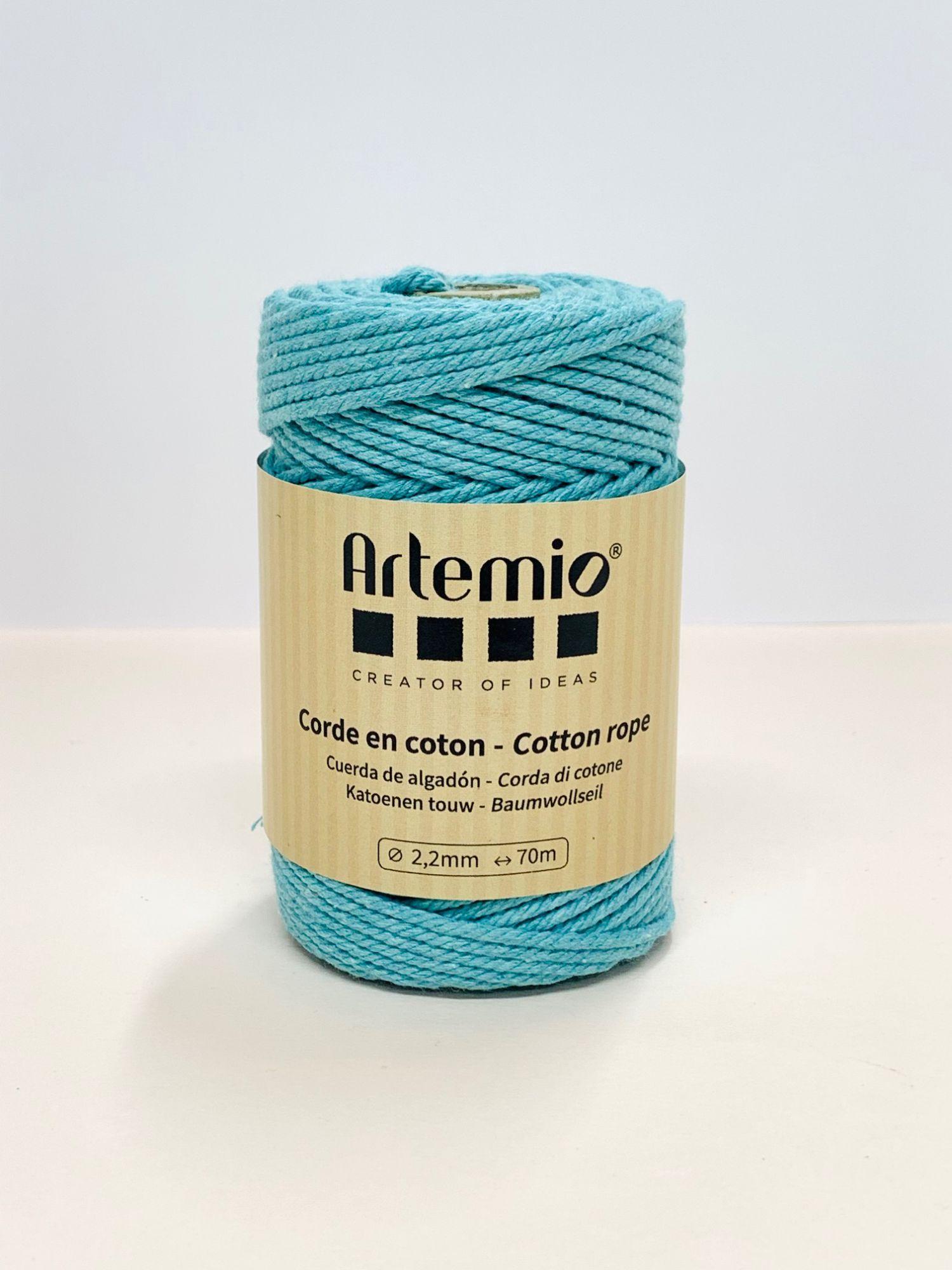 Corde en coton macramé Bleu clair diam:2,2mm Artémio