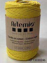 Corde en coton macramé Jaune diam: 2,2mm Artémio