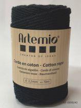 Corde en coton Noir diam: 2,2mm Artémio