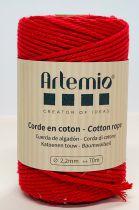 Corde en coton Rouge diam: 2,2mm Artémio